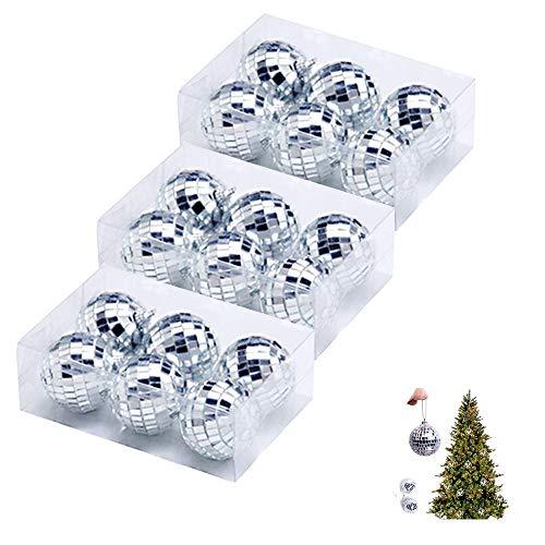 LZYMSZ 18 bolas de espejo de plata de 5 cm, bola de espejo de discoteca, bolas de árbol de Navidad con correa de sujeción para fiestas, adornos de Navidad, decoración del árbol de Navidad