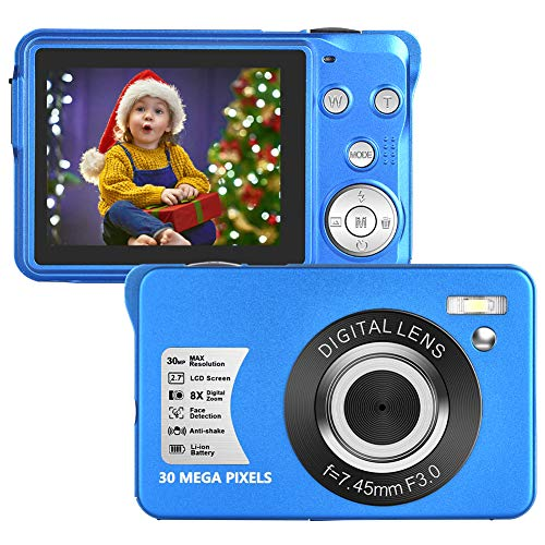 LongOu Digitalkamera 1080P Full HD 30 Megapixel Fotoapparat Digitalkamera 2,7-Zoll-LCD Kompaktkamera Fotokamera mit 8-fachem Zoom für Senioren (Blau)
