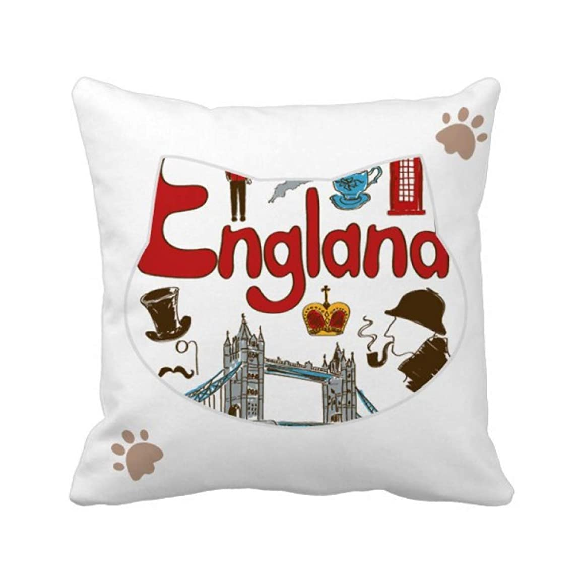 洞察力のある映画学校の先生イングランドの国家の象徴のランドマークのパターン 枕カバーを放り投げる猫広場 50cm x 50cm