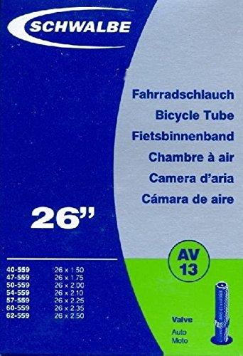 """SCHWALBE Fahrradschlauch AV13 mit Autoventil ~ 26\"""" ~ 50-559 mm (26 x 1,90 Zoll) auch für MTB\'s + Leichtmofas"""