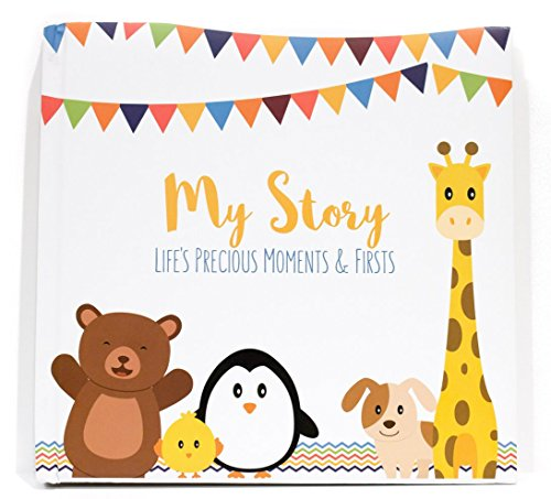 First Year Baby Memory Book & Baby Journal (3 Color Styles Available). Perfect for Boys or Girls Baby Shower Gift. First 5 Years Scrapbook  Keepsake & Photo Journal. Unisex  Little Animals