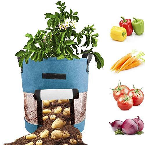 Huieng 2 Stks 10 Gallon Plant Tassen Met Flap En Band Handvatten voor Aardappel, Wortel, Ui, Stof Verhoogd Plant Bed,Tuin Stof Groei Tassen Met Handvat, Plant Bloemen Pot 10Gallon Blauw