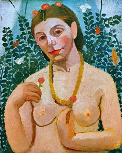 Kunst für Alle Impresión artística/Póster: Paula Modersohn-Becker Selbstbildnis als Halbakt mit Bernsteinkette II - Impresión, Foto, póster artístico, 55x70 cm