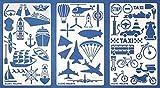 Aleks Melnyk #46 Pochoirs à Dessin/Planches de Pochoirs avec de Transport pour Loisirs Créatifs/Stencils Peintures Journal en métal pour Bricolage Dessin/3 pièces/Gabarit Scrapbooking