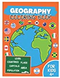 Geography Coloring Book for Kids: Learn World Countries, Capitals & Flags (Americas and Oceania, Europe, Asia, Africa)   Educational Geography Activity Book