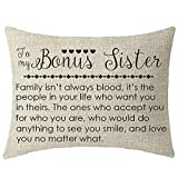 NIDITW to My Bonus Sister in Law Gift with Inspirational Funny Sayings Words Lumbar Cream Burlap...