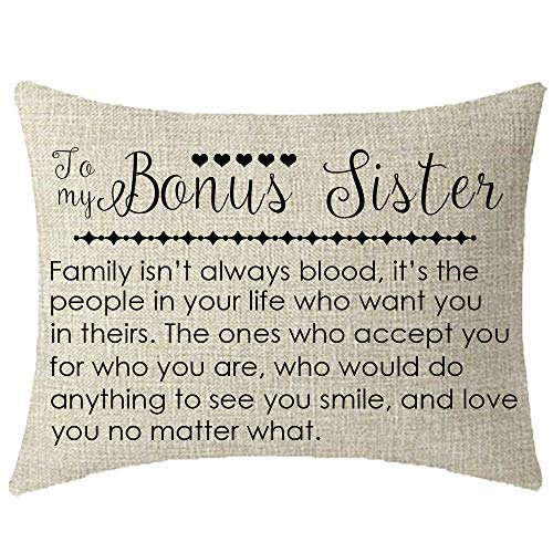 NIDITW to My Bonus Sister in Law Gift with Inspirational Funny Sayings Words Lumbar Cream Burlap Decorative Rectangle Pillow Case Pillowcase for Sofa Living Room 12x20 Inches