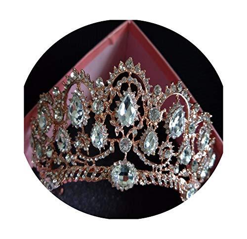 Sweet-Cupid Wedding tiaraDiadema europea carroca grande corona de cristal tiara de boda reina corona novia tiara tiaras accesorios para el pelo para la cabeza joyería, Size, Rose gold,