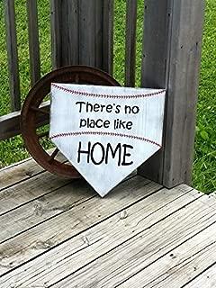 YYcharm Large Baseball Sign - Theres No Place Like Home - Wooden Softball Sign - Home Plate Baseball Wall Decor - Girls Softball Decor