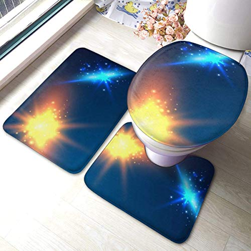 3 Pieces Bath Rug Set Toilet Seat Cover Burning Fire Transparent Background Neon U-shaped toilet floor mat,Pedestal Mat and Toilet Lid Cover