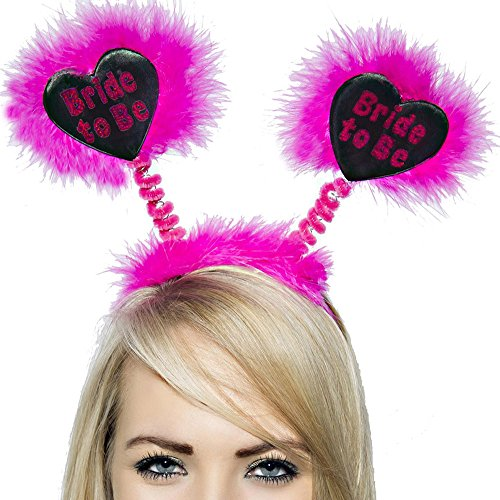 Hen Night Bride to Be Pink Fluffy Head Bopper Hen Party Accessory