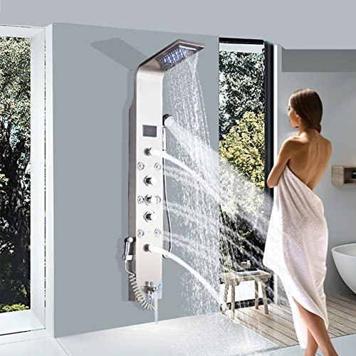 JUNSHENG Columna de Hidromasaje Para Baño Panel de Ducha Moderna Acero Inoxidable Con LED + 5 Salida de Agua + LCD Pantalla de Temperatura,Níquel cepillado
