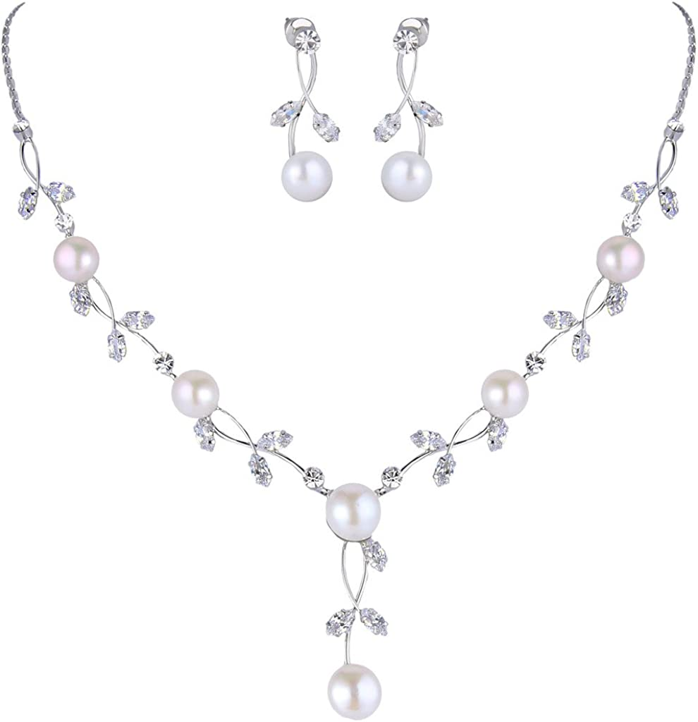 EVER FAITH CZ Crystal Cream Simulated Pearl Floral Vine Filigree Necklace Earrings Set
