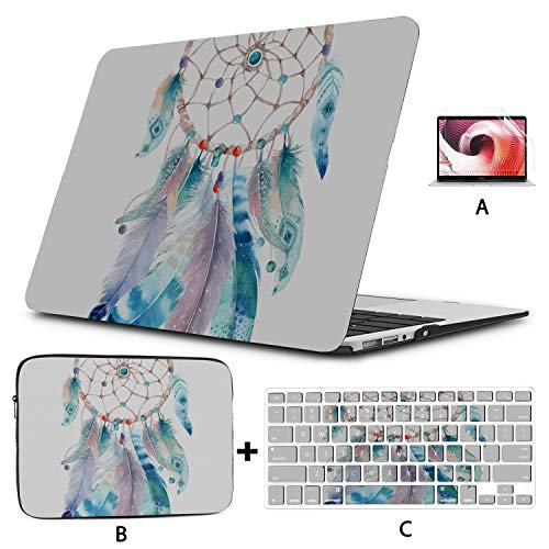 Macbook Pro Laptop Case Colorful Psychedelic Dream Feather 2018 Macbook Pro Accessories Hard Shell Mac Air 11'/13' Pro 13'/15'/16' With Notebook Sleeve Bag For Macbook 2008-2020 Version