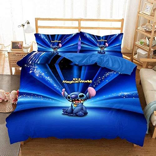 NBAOBAO Lilo & Stitch - Juego de ropa de cama infantil, 100% microfibra, 1 funda nórdica y 2 fundas de almohada de 80 x 80 cm (Stitch-8,140 x 210 cm + 50 x 75 cm x 2)