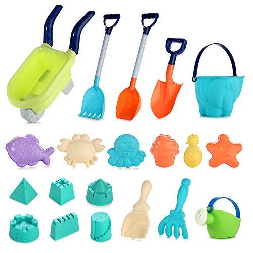 SHANNA Juguetes de Playa para niños Bebes,Set de Juguetes de Arena para Playa al Aire Libre con Carretón Pala Cangilón Moldes de Castillo de Material plástico Blando (20 Piezas)