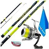 Fishing Evolution - Kit de caña de pescar Surfcasting, Rock Fishing y Bolentino KP5467 Caña Shizuka de 3 secciones, SH1800 + Mul. LF Atlantic 7000 Incluye Towel + Abrazadera para carrete