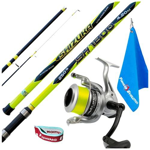 Fishing Evolution - Kit Canna da Pesca Surfcasting, Rock Fishing e Bolentino KP5467 Canna Shizuka 3sez. SH1800 + Mul. LF Atlantic 7000. Include Towel + Fascetta Blocca Filo per Mulinello