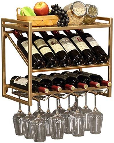 XHCP Estante para Colgar en la Pared con botellero 2 en 1 |Porta latas de Vino y Copas |Restaurante Bar montado en la Pared Wall D & Eacute; Cor