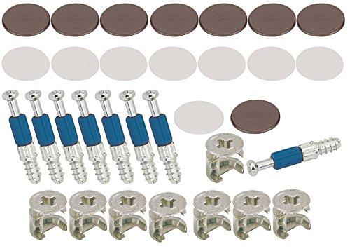 SECOTEC Möbelverbinder Exzenter 25 mm | Schrank-Verbinder | inkl. Abdeckkappen in braun & weiß | Made in Germany | je 8 Stück