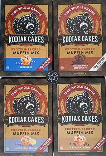 Kodiak Muffin Mix - Try them all - Plus Unique Fridge Magnet - Blueberry, Blueberry Lemon, Double Chocolate and Chocolate Chip Kodiak Cakes Muffin Mixes