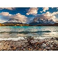 5Dダイヤモンド絵画、フルキットDIYラインストーン刺繡クロスアーツクラフトクリスタルラインストーンダイヤモンドホームウォールデコレーション-雪山の下の湖-50x70cm