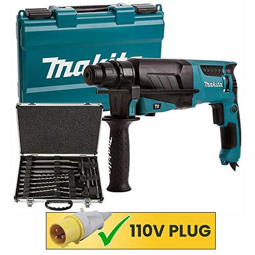Makita HR2630 SDS+ Hammer Drill 110V with Makita D-21200 17Pc SDS + Drill Bit Set