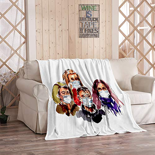THE MINI CRUSH World Miracle Blanket,Plush and Warm Home Soft Cozy Portable Fuzzy Throw Blankets for Couch Bed Sofa,Watercolor World Quarantine Coronavirus Infection A Group of People,50'x60'