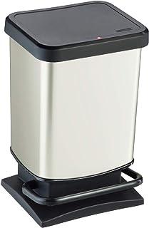 Rotho Paso Poubelle 20l avec pédale et couvercle, Plastique (PP) sans BPA, blanc métallisé, 20l (29,3 x 26,6 x 45,7 cm)