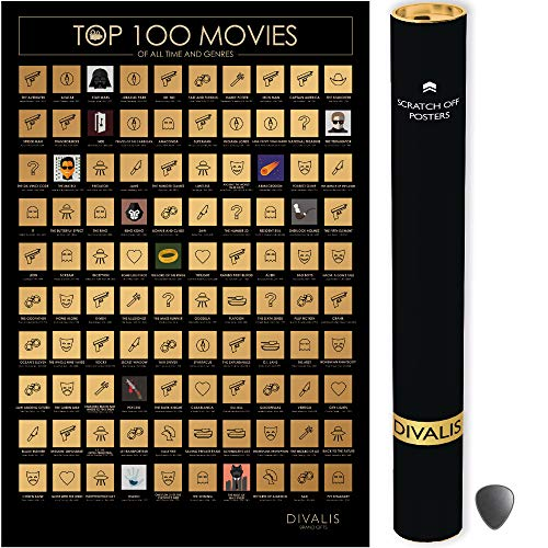 Top 100 Movies Scratch Off Poster - Films of all Time Bucket List - 24x16' Easy to Frame Scratchable Cinema Checklist Poster - Must See Movie Challenge - 100 Essential Movies Scratch off Calendar with Scratcher Included - Greatest Movies for Family to Watch