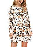 Halloween Costume Women's Pumpkin Funny Long Sleeve Midi Dresses Pumpkin & Witch M