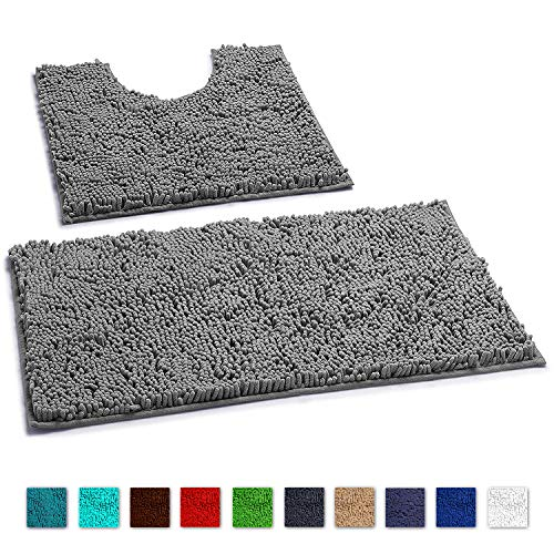 LuxUrux Bathroom Rugs Luxury Chenille 2-Piece Bath Mat Set, Soft Plush Anti-Slip Shower Rug +Toilet Mat.1'' Microfiber Shaggy Carpet, Super Absorbent Machine Washable Mats (Curved Set, Light Grey)
