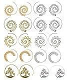 10 pares de aretes de aro en espiral para mujeres niñas pendientes tribales de la vendimia remolino de oro sinver (20 piezas)