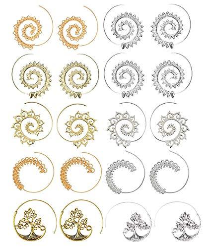Orecchini a cerchio a spirale da 10 paia per orecchini da ragazza in oro con pendente tribale vintage (20 pezzi)