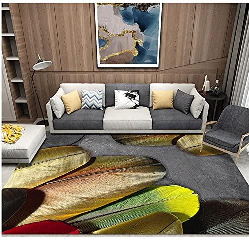 WCCCW Patrón de Plumas de Color, impresión y teñido de Anti-Fading 3D, Antideslizante, fácil de Limpiar, Sala de Estudio, Mesa de Centro, Alfombra de decoración de oficina-130x190cm Suave Moderna Alf
