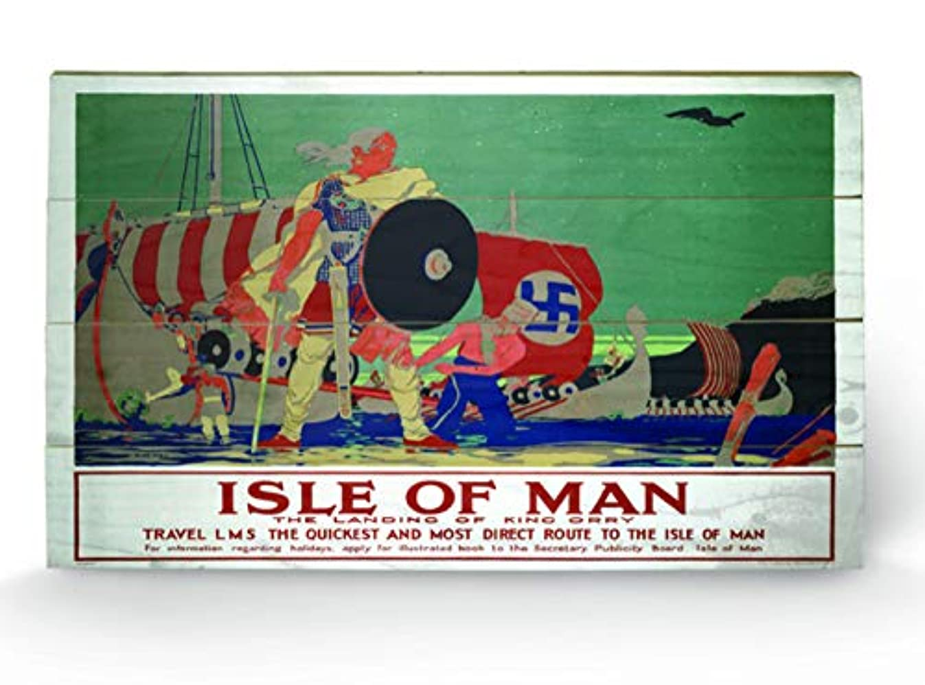 ISLE OF MAN Images & Pictures, Wooden wall art, Size: 45 x 76cm (18 x 30.4 inches)
