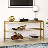 Henn&Hart Modern Console Sofa 3-Tier Open Shelf, Entryway/Hallway Table for Living Room, Multiple Colors/Sizes, 55' L, Gold,AT0234