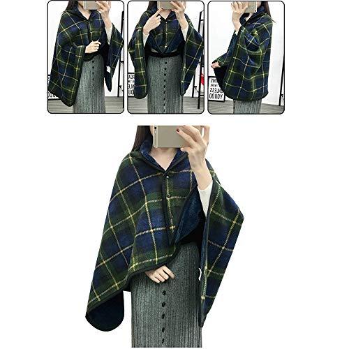 Écharpe Wrap, Dame Multifonction Doublelayer Tartan Plaid Couverture Écharpe Wrap Châle Hiver Chaud Accueil Textiles