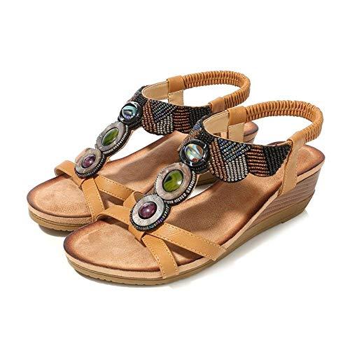 COCNI Böhmische Keil-Schuhe Freizeit Frau Slides Sandalen Schuhe Flache Sandalen Strand Muffin Schuhe ethnische Art Damenschuhe Handgemachte wulstige Sandalen öffnen Zehehefterzufuhren Breath Flip Flo