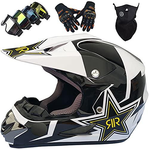 Casco Motocross Niños de 5 a 14 Años, MJH-01 Casco Moto Cross para Jóvenes y Adultos Set con Gafas Guantes Máscara, Casco Integral para Downhill Enduro Quad Bike MTB Go Karting - Tamaño: S-XL/52-59CM
