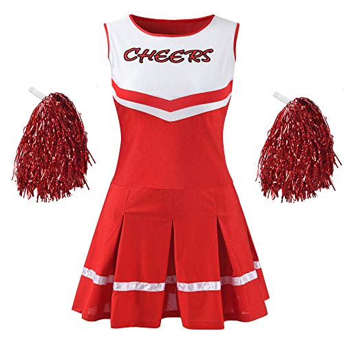 Makroyl Women's Musical Uniform Fancy Dress Complete Outfit High School Cheerleader Costume (Red, Medium)