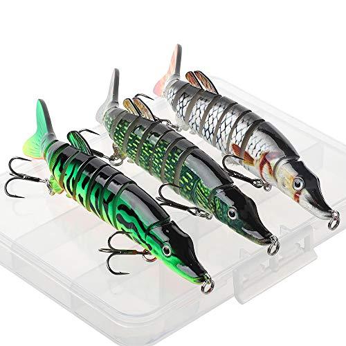 HXC - Señuelos de pesca con múltiples articulaciones, para pesca de lucio con caja de plástico, anzuelos de pesca en el mar, cebo artificial de pesca en 3D (13 cm, 3 unidades)