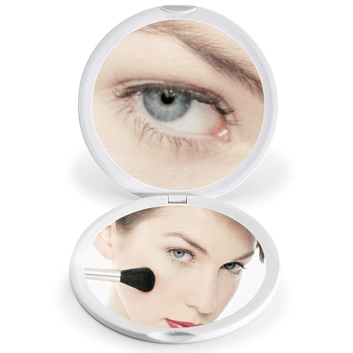 くそー診断する裕福なFASCINATE 化粧鏡 化粧ミラー 鏡 女優ミラー 拡大鏡 10倍 明るさ調節可能 電池給電 (ホワイト)