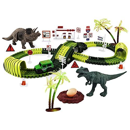 Sharplace Juguetes de Dinosaurios Pista de Carreras Puente de montaña Rusa Crear Kit de Curva de Bricolaje Dinosaur World Road Race Pistas de Dinosaurios para - 24,41 x 12,6 Pulgadas