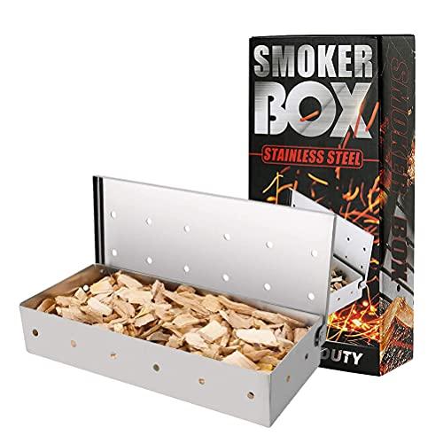 MOPOIN Affumicatore BBQ, Affumicatore Barbecue Affumicatore Box in Acciaio Inox Barbecue Accessori per Barbecue a Gas e Barbecue a Carbonella - 22.2 x 9.6cm