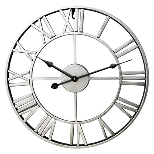 Tosbess Reloj de pared grande vintage 60 cm/23,6 pulgadas, europeo, silencioso, reloj de pared de metal, sin ruido de tictac, hecho a mano, decoración 3D