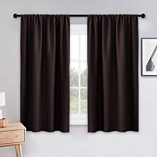 PONY DANCE Kitchen Curtain Panels - Blackout Window Drapes Room Darkening Short Curtains Home Decoration Window Coverings with Rod Pocket, W 42 x L 45 inches, Chocolate Brown, 2 PCs