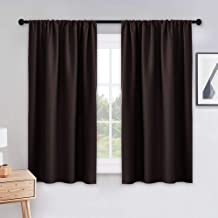 PONY DANCE Bedroom Curtains Drapes - Blackout Panels Home Fashion Solid Rod Pocket Curtain Blinds Home Decor Thermal Insulated Light Block, Wide 42 x Long 54 inches, Chocolate Brown, 1 Pair