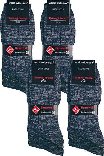 world wide sox | Socken & Strümpfe für Herren | Flammgarn Extra Qualität | 12 Paar | blau-&-schwarz-melange | 43-46