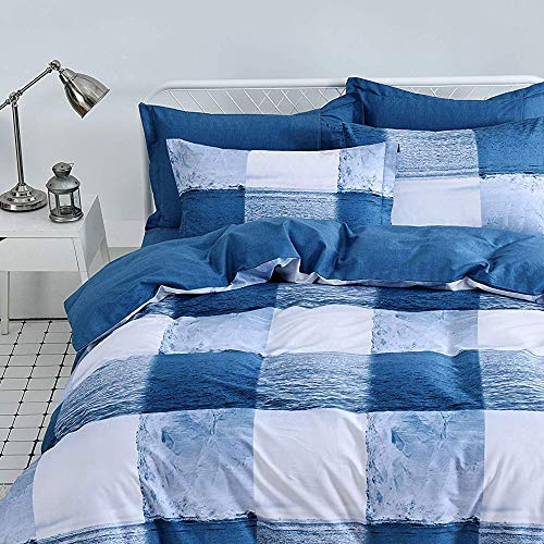 FADFAY Target Bedding Duvet Cover Set Queen Navy Blue and White Checkered Pattern Oceanic Bedding Set 100% Cotton Hypoallergenic with Hidden Zipper Closure, Queen Size 3-Pieces